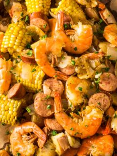 a closeup of instant pot shrimp boil