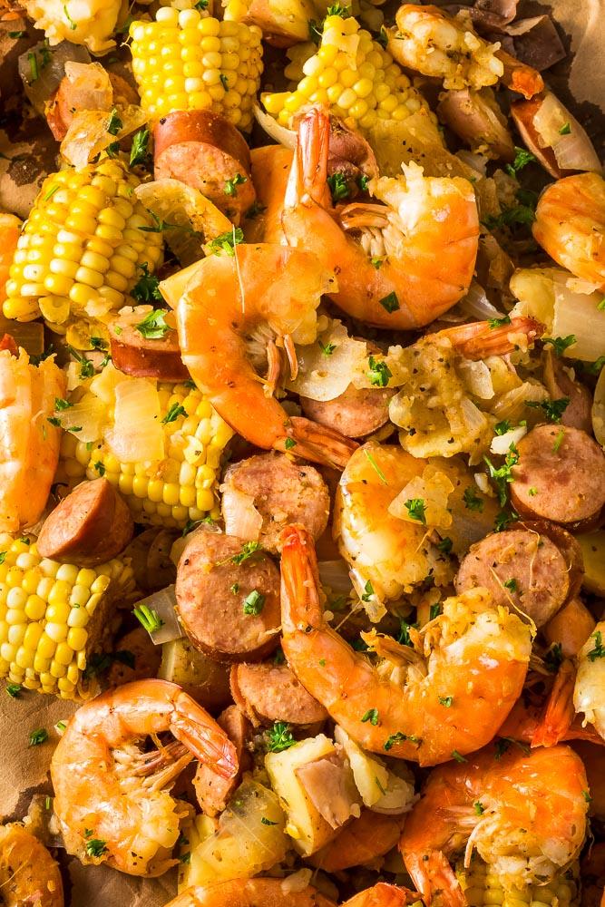 a closeup of instant pot shrimp boil