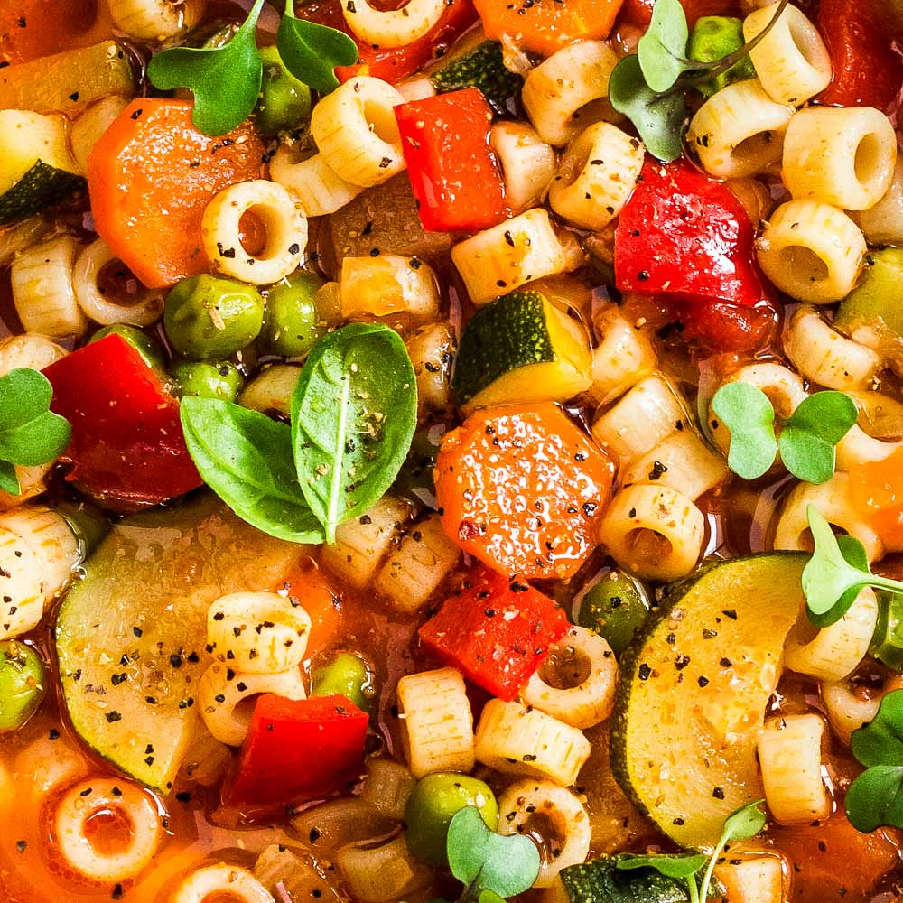 an extreme closeup of Instant Pot minestrone soup